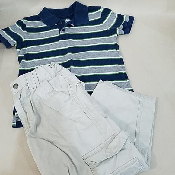 Grey Stripe Polo & Khaki Pants set 4T